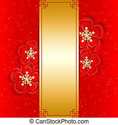 nowy, chińczyk, powitanie karta, rok