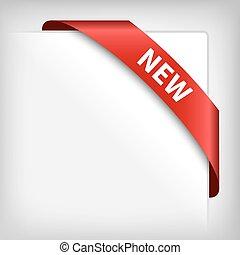 nowy, czerwona wstążka, róg