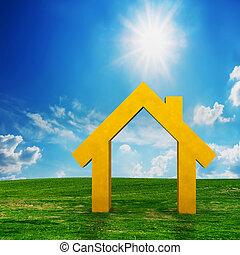 nowy dom, widzenie, projekt, na, pole