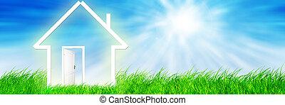 nowy dom, wyobraźnia, na, zielona łąka