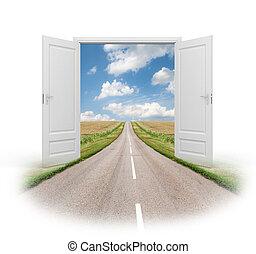 nowy, drzwi, rzeczywistość
