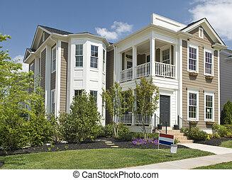nowy, dwa-historii, luksus dom