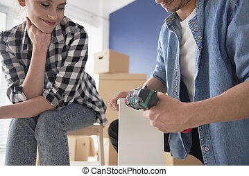 nowy, ich, para, meble, instalowanie, dom