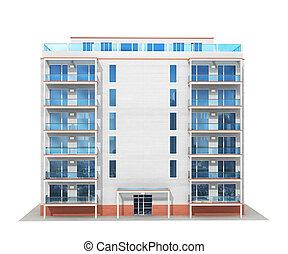 nowy, ilustracja, nowoczesny, mieszkaniowy, multistory, ...