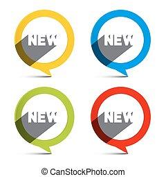 nowy, koło, etykiety, komplet, barwny