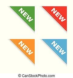 nowy, komplet, wstążka, róg