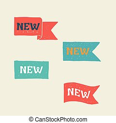 nowy, labels., vector.