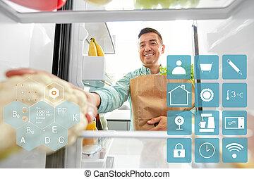 nowy, lodówka, dom, jadło, kładzenie, kupiony, człowiek