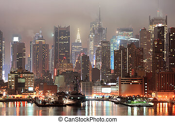 nowy, miasto, manhattan, york