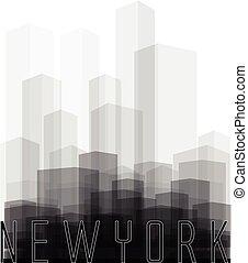 nowy, miasto, sylwetka, york