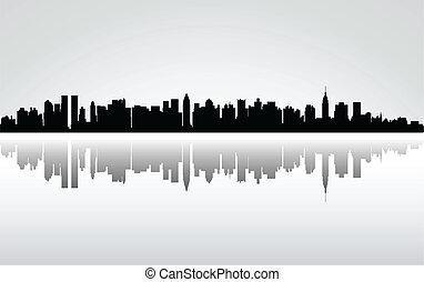 nowy, miasto, york, panorama