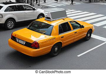 nowy, miasto, york, taksówka