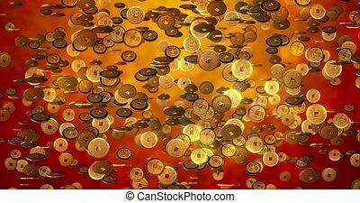 nowy, monety, rok, złoty, 3d, tło, przedstawienie, 4k, texture., chińczyk