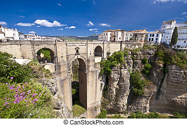 nowy, most, w, ronda, andalucia, hiszpania