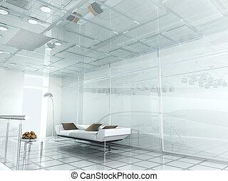 nowy, nowoczesny, biuro, 3d