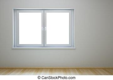 nowy, okno, pokój, opróżniać