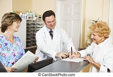 nowy, pacjent, znak, w