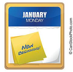 nowy, pisemny, początek, kalendarz, słówko