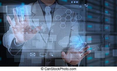 nowy, pojęcie, technologia, pracujący, biznesmen