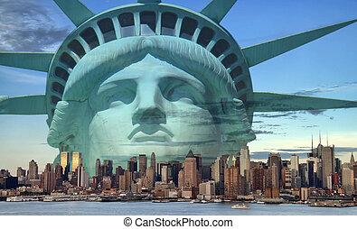 nowy, pojęcie, turystyka, york, miasto