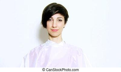 nowy, pokaz, fryzura, szczęśliwa kobieta