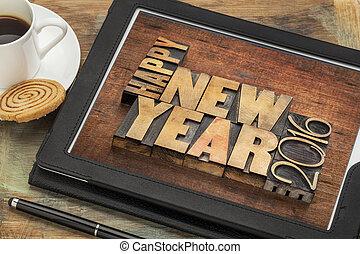 nowy rok, 2016, szczęśliwy, tabliczka