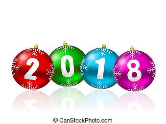 nowy rok, 2018, powitanie karta, z, barwny, boże narodzenie, piłki, na białym, tło