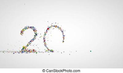nowy rok, 2018, znak, robiony, z, barwny, kule