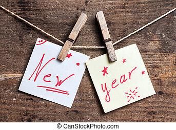 nowy rok, karta, na, drewniany, powierzchnia