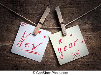nowy rok, karta, na, drewniany, tło