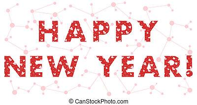 nowy rok, karta, z, przedimek określony przed rzeczownikami, inscription.