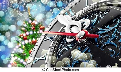 nowy rok, na, północ, -, stary, zegar, z, gwiazdy, płatki...