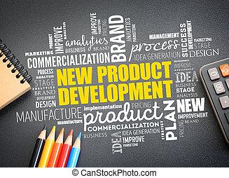 nowy, słowo, chmura, collage, rozwój produktu