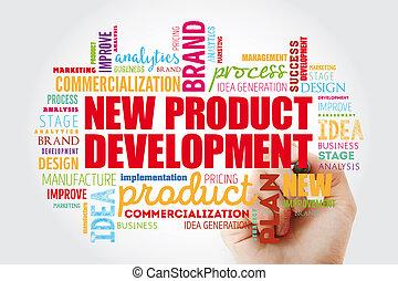 nowy, słowo, collage, rozwój, produkt, chmura