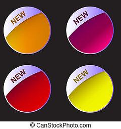 nowy, set., wektor, labels., ilustracja