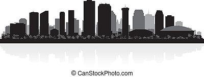 nowy, skyline przedstawią w sylwecie, orleans, miasto