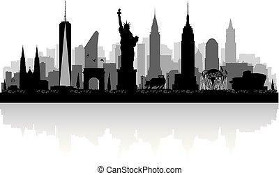 nowy, skyline przedstawią w sylwecie, york, miasto