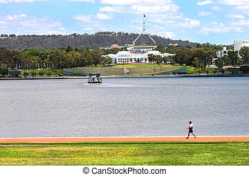 nowy, &, stary, parlament, dom, canberra