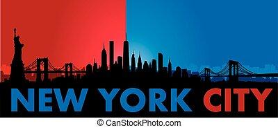nowy, sylwetka na tle nieba, wektor, york, miasto