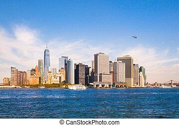 nowy, sylwetka na tle nieba, york, miasto