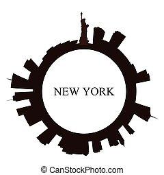 nowy, sylwetka na tle nieba, york, odizolowany, miasto