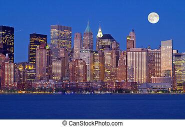 nowy, sylwetka na tle nieba, york, th, miasto