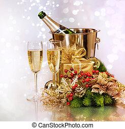 nowy, szampan., rok, celebrowanie