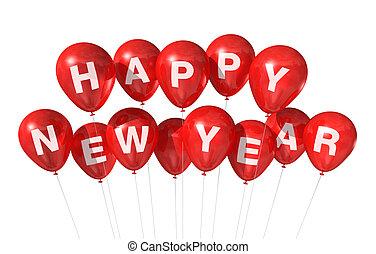 nowy, szczęśliwy, balony, rok