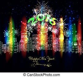 nowy, szczęśliwy, barwny, miasto, rok