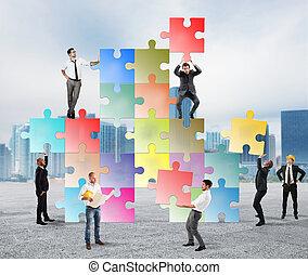 nowy, towarzystwo, drużyna, businesspeople, budować