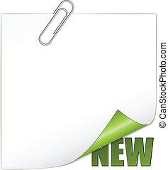 nowy, wektor, paperclip, róg
