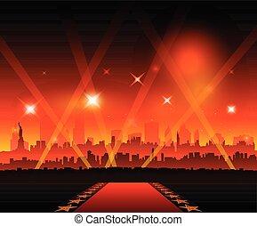 nowy-york, miasto, film, czerwony dywan, film theater