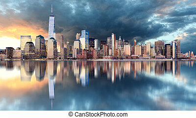 nowy york skyline, na, wschód słońca