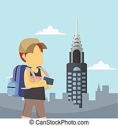 nowy york, turysta, miasto